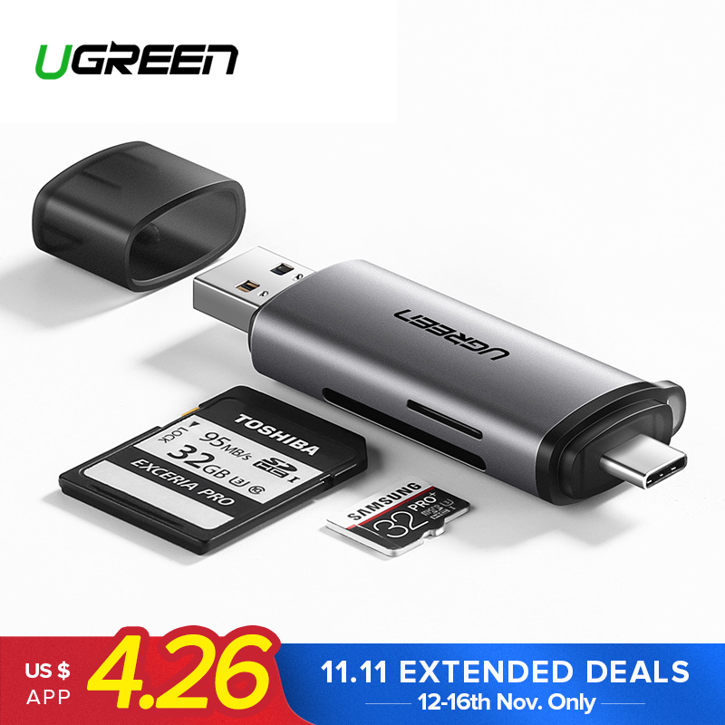 Ugreen Card Reader USB 3.0 SD/Micro SD TF OTG Smart Memory Card Adapter for Laptop USB 3.0 Type C Cardreader SD Card Reader sd card reader micro sd tf card usb sd adapter tf card otg adapter multi function cardreader smart memory usb card reader
