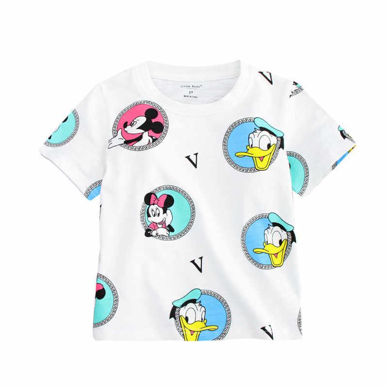 Little bitty nieuwe ontworpen baby meisjes cartoon korte mouwen zomer t-shirts kinderen hot selling kleding nieuwe stijl t-shirt voor meisjes