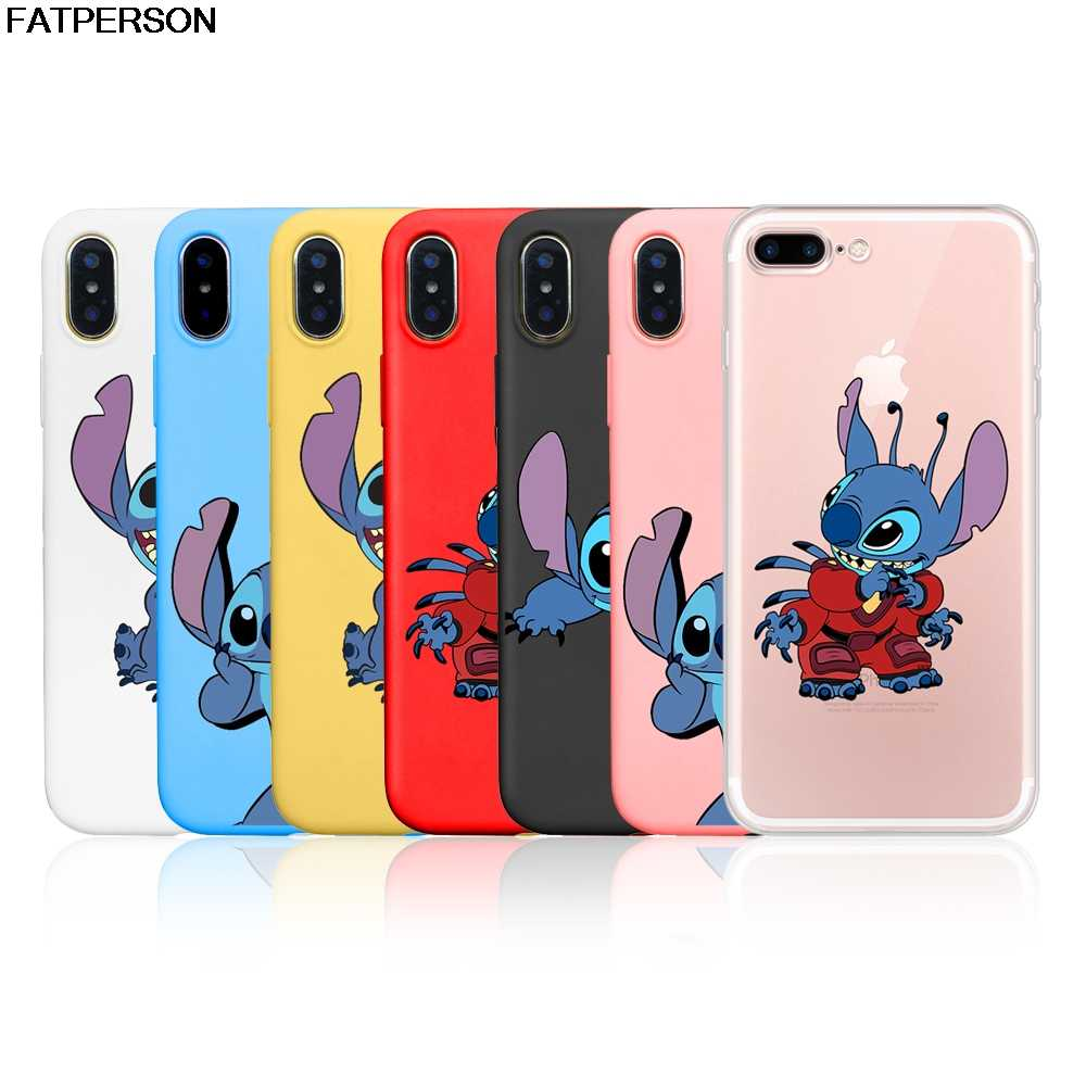 Cute phone case For iphone 8 7 6 6s Plus 5S SE Stitch cartoon Multi colored Soft TPU phone cover For iphone X XS XSMAX XR case