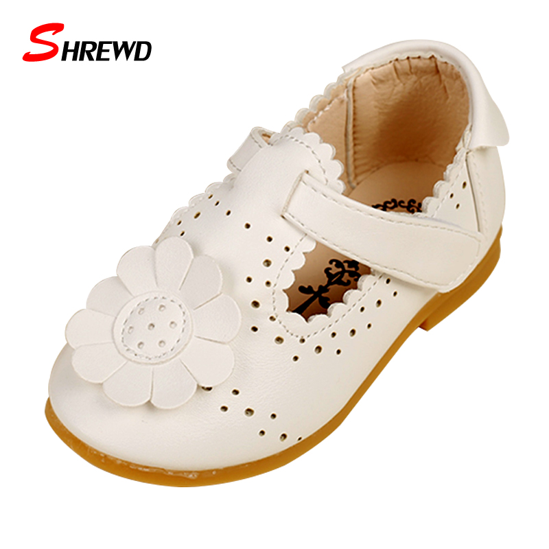 Shoes For Kids 2018 Autumn/Spring Fashion Flower Kids Shoes For Girl Leather Solid Hollow Casual Pretty Girls Shoes 9151Z