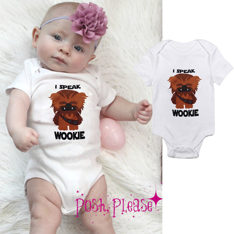 DERMSPE 2019 Summer Newborn Baby Boys Girls Short Sleeve Letter I Speak Wookie Monster Romper Jumpsuit Baby Clothes White