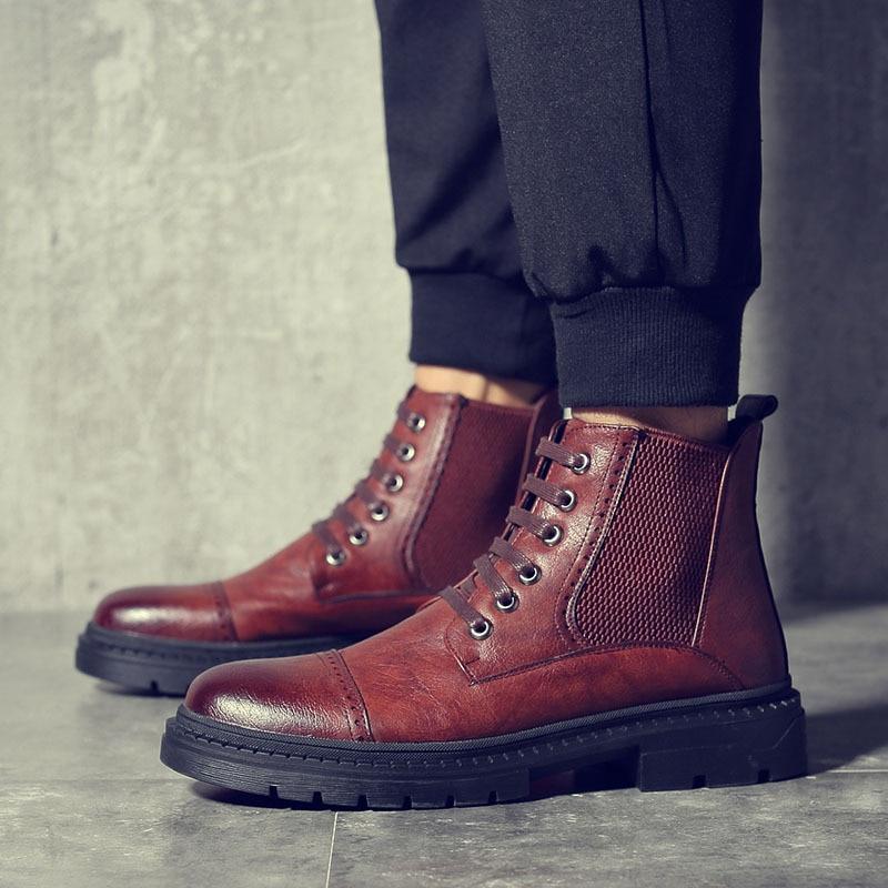 Outono Homens Black Inverno Couro Rendas Sapatos Neve Para Tornozelo De M169 Moda Do marrom Pu Preto Brown O Até Botas Dos Man CqwUgdqS