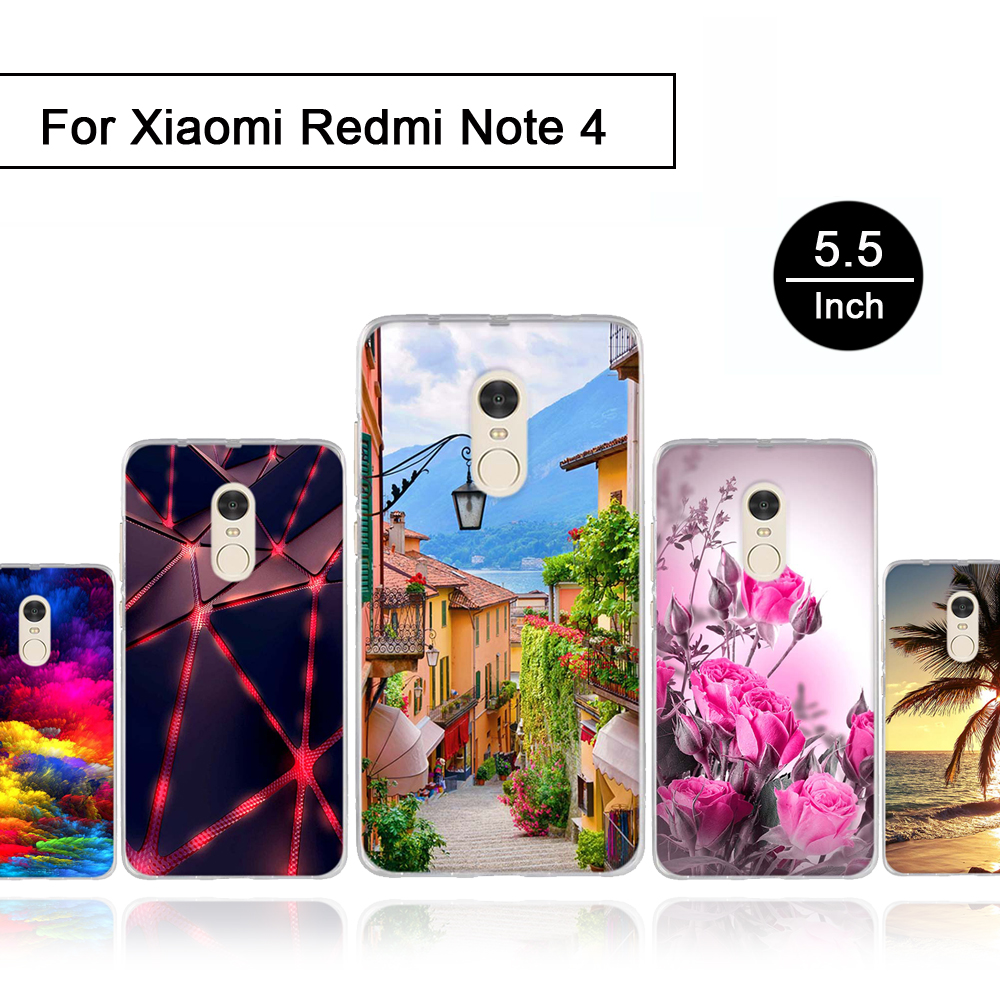 for Xiaomi Redmi Note 4 Case TPU Soft Silicone Mobile Phone Back Cover Case for Xiaomi Redmi Note4 Luxury Protection Shells New ...
