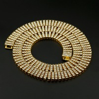 30 Hip Hop Women Men Charm 4 ROW Rhinestone Necklaces Golden Bling Iced out Simulated Stone Jewelry Chains