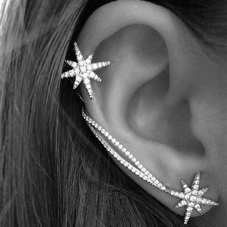 Hot New 1pcs Fashion Star Ear Cuff Trendy Personality Luxury Clip Earrings For Women Jewelry Wholesale