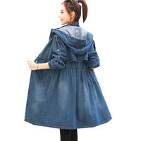 Fashion Spring Autumn Women Jacket Coat Korean Slim Hooded Long Denim Jacket Windbreaker Woman Plus Size Female Harajuku Clothes