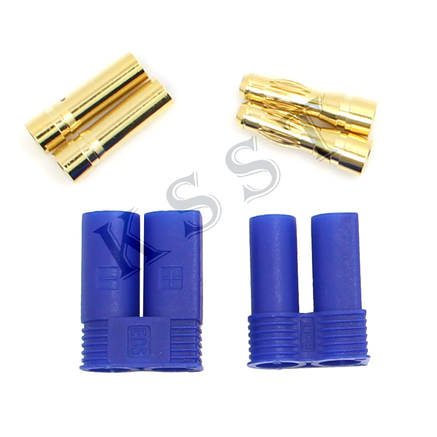 Free Shipping 10 Pair EC5 Banana Plug Female Male 5mm 5.0MM Bullet Gold Connector For RC ESC LIPO Battery