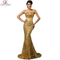 Grace karin sirena de lentejuelas de lujo de royal azul rojo de plata negro Vestidos de fiesta Largo 2017 Del Partido de La Sirena Vestidos Largos de Fiesta de Oro vestidos