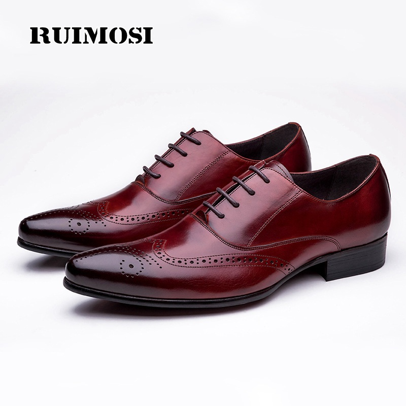 RUIMOSI Italian Designer Man Wing Tip Brogue Shoes Genuine Leather Bridal Oxfords Pointed Toe Men's Dress Flats For Wedding WD52