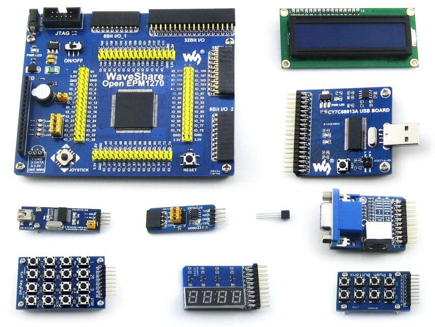 Waveshare OpenEPM1270 Package# EPM1270T144C5N EPM1270 ALTERA MAX II CPLD Evaluation Development Board +10 Accessory Modules Kits