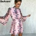 BeAvant Floral print backless sexy dress women Elegant flare sleeve chiffon mini dress Summer casual beach short dress 2018 new