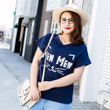 d91719f4d3ef8 New high street style letters and cat whiskers printed tops summer cotton  V-neck T