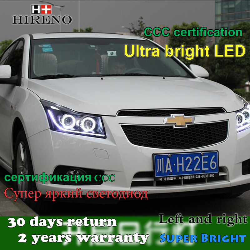 Hireno Headlamp for 2010 2011 2012 2013 2014 Chevrolet Cruze Headlight Assembly LED DRL Angel Lens Double Beam HID Xenon 2pcs