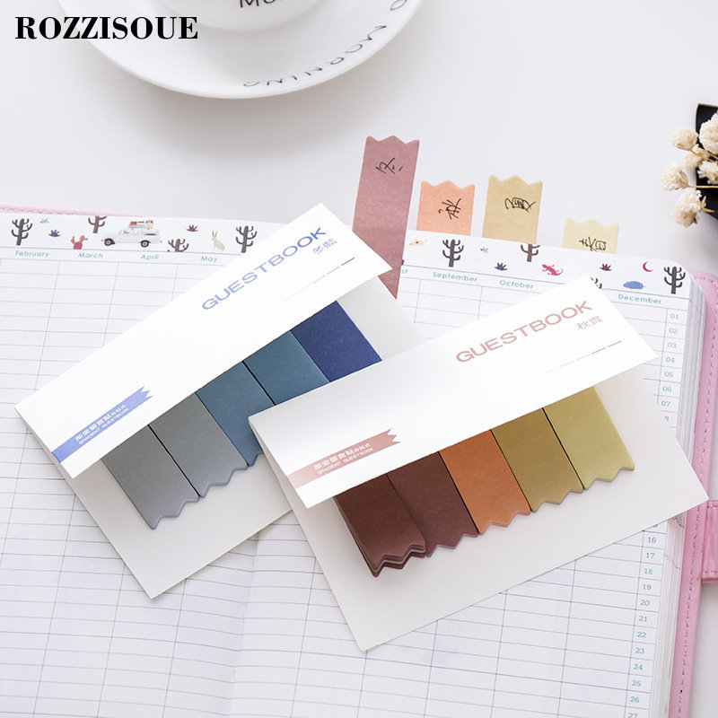Hot Diy Gradient Color Memo Pads Office Novelty Sticky Notes Planner Stickers Page Index Post Office School Supplies Stationery