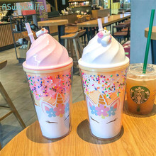 Korean Style Fashion Unicorn Ice Cream Plastic Cup Cute Straw Water Boys Girls Couple Drinking Cups With Lid Travel
