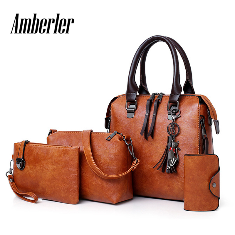 Amberler Women Handbags PU Leather Shoulder Bags Female Large Capacity Casual 4 Pieces Set Tote Bag Tassel Purses And Handbags