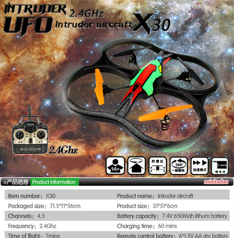 New arrival large scale RC Drone Quadcopter  Headless 2.4G 4-Axis Real Time RC Helicopter Quad copter Toys  birthday gift