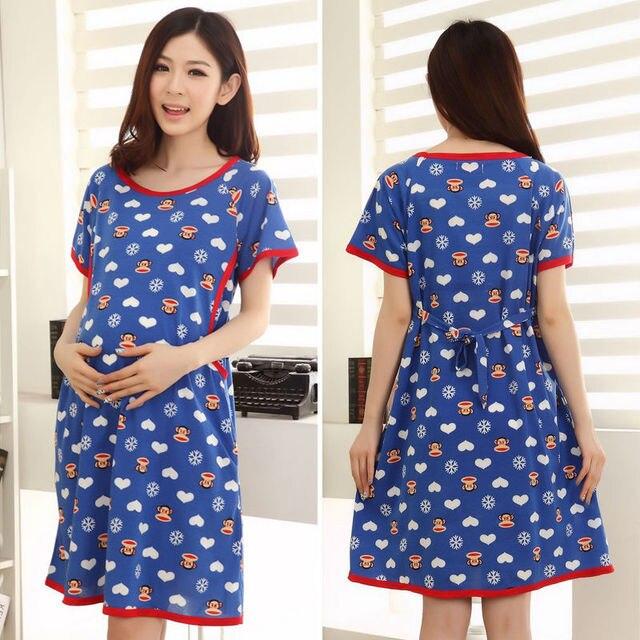 azul mono grande la boca de fiesta informal vestidos pullover saia vestidos maternidad para el verano