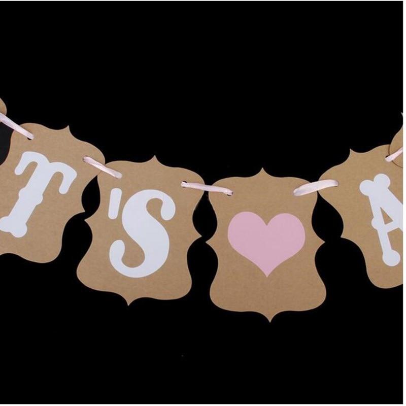 Es una niña letras kraft banner guirnalda fiesta de cumpleaños - Para fiestas y celebraciones