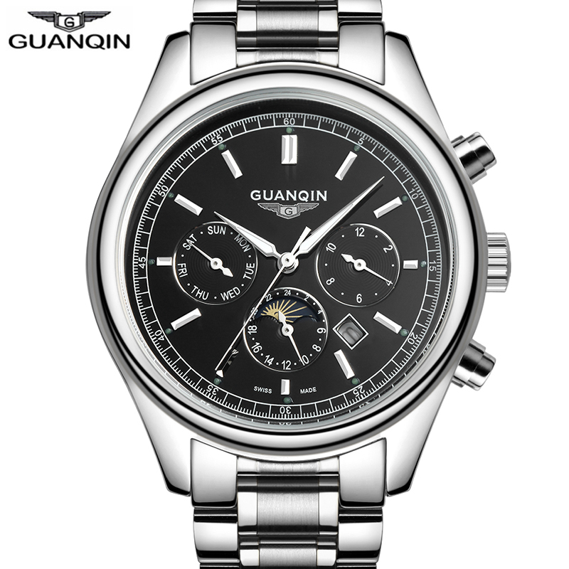 Часы GUANQIN для мужчин водостойкие для мужчин s часы лучший бренд класса люкс Бизнес Кварцевые часы Moon Phase Erkek коль Saati Relogio Masculino