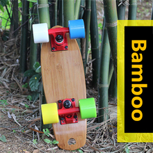 "17"" inches Natural Bamboo Portable Skateboard with Elastic PU wheel and Aluminium Alloy Bracket"