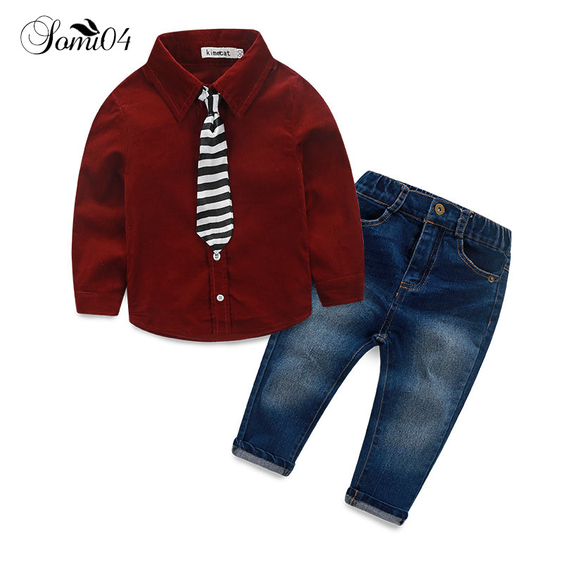 Fashion Children Clothing Formal Set 2018 Autumn Spring Baby Boys Child Denim Tie Shirt Suit Set Cotton Long Sleeve Jeans Outfit hot sale 2017 spring autumn new fashion baby boy clothes 3pcs set denim style cotton with tie children clothing suit a014