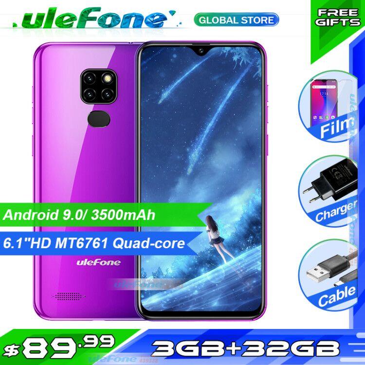 Ulefone Nota 7P Smartphone Android 9.0 Quad Core 3500mAh 6.1 polegada Tela Waterdrop 3GB + 32GB telefone celular Desbloqueio Rosto