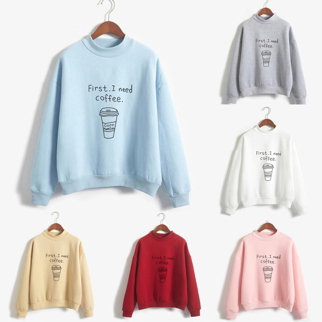 Women O-Neck Sweatshirts Solid Color Coffee Cup Pattern Long Sleeve Plus Velvet Feitong kpop fashion Spring AuturmNew Sweatshirt