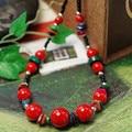Красивый тибетский стиль очаровательные красного коралла бусины изысканный ожерелье многоцветный оболочки частей черный керамический оригинал этнические украшения