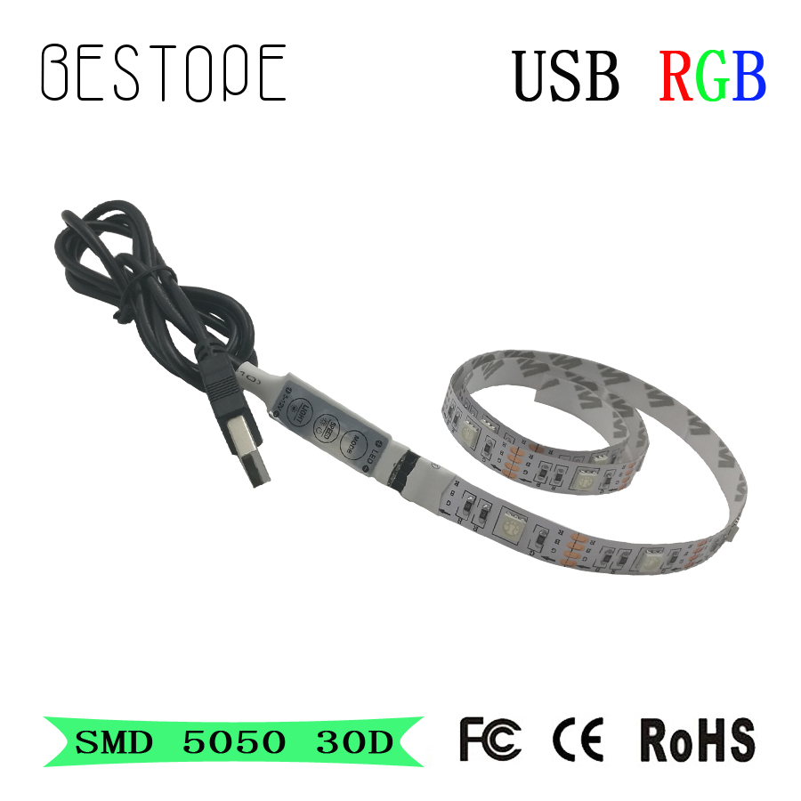 DC5V USB Cable LED Strip Light 5050 Christmas Flexible Led Stripe TV Background Light 3keys Mini Remote 50CM