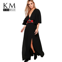 Kissmilk Big Size Women Clothing Casual Solid Embroidery Sexy Deep V-Neck Ankle-Length Side Split Plus Size Dress 4XL 5XL 6XL