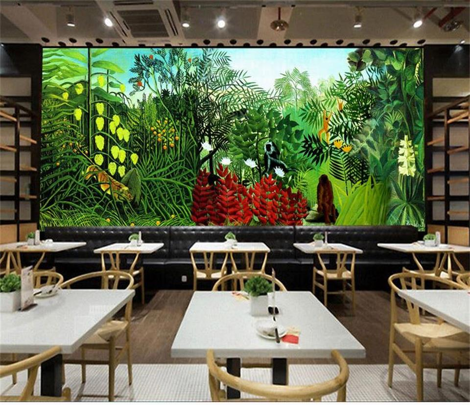 Us 15 3 49 Off Custom 3d Photo Wallpaper Room Mural Rousseau S Jungle Painting Photo Room Sofa Tv Background Wall Non Woven Sticker Wallpaper In