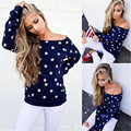 Delicate Hot Women Stars Pattern Long Sleeve Sweatshirt Tops Casual Shirt Camisa de entrenamiento Sep28 wholesale