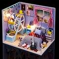 DIY Brinquedos de Montagem de Casa de Boneca Em Miniatura Casa de Bonecas De Madeira 3D Artesanal Quarto para Crianças Presente de Natal Aniversário Dos Namorados Presentes
