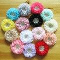 Caliente venta! 30 unids/lote 15 colores de raso gasa con centro rhinestone de la perla para los niños de los bebés diademas adornos cabello