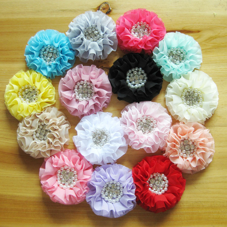 Hot Sale! 30pcs/lot 15colors Satin chiffon flower with rhinestone pearl center for Girls  headbands hair ornaments акустика центрального канала heco elementa center 30 white satin