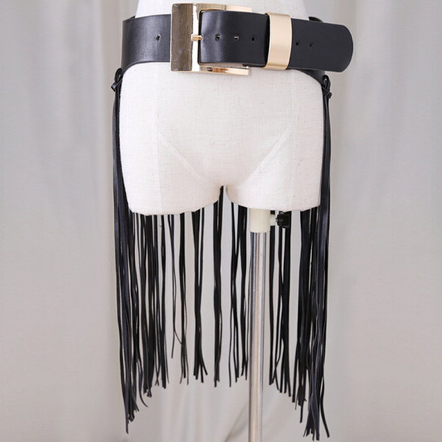 Hot Sexy long fringe belt straps Leatherette Women Celebrities Ceinture Femme Brushes Belt Buckles Lucci extravagant accessories