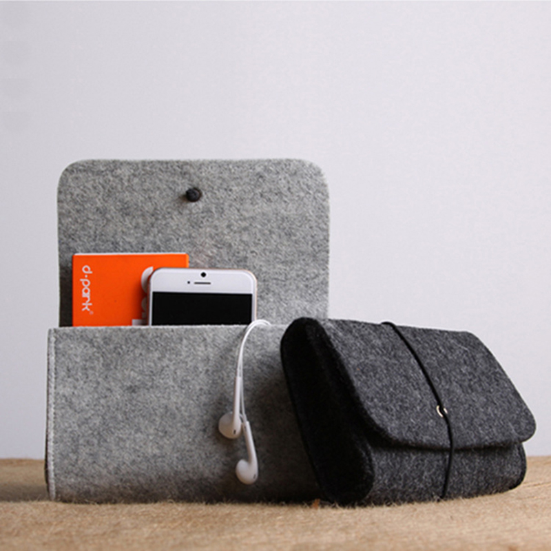 Storage-Bag Felt-Pouch Power-Bank Travel Organizer Data-Cable Electronic Gadgets Mouse