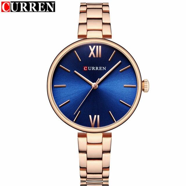 2018 Curren Womens Watches Top Brand Luxury Gold Bracelet Quartz Watch