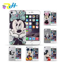 Amantes Mickey Minnie Caso Ponto Para O iPhone Coque 6 6 S X 5 5S 6 7 8 Mais Caso TPU claro Casos Capa Funda Para iPhone X Xr Xs Max(China)