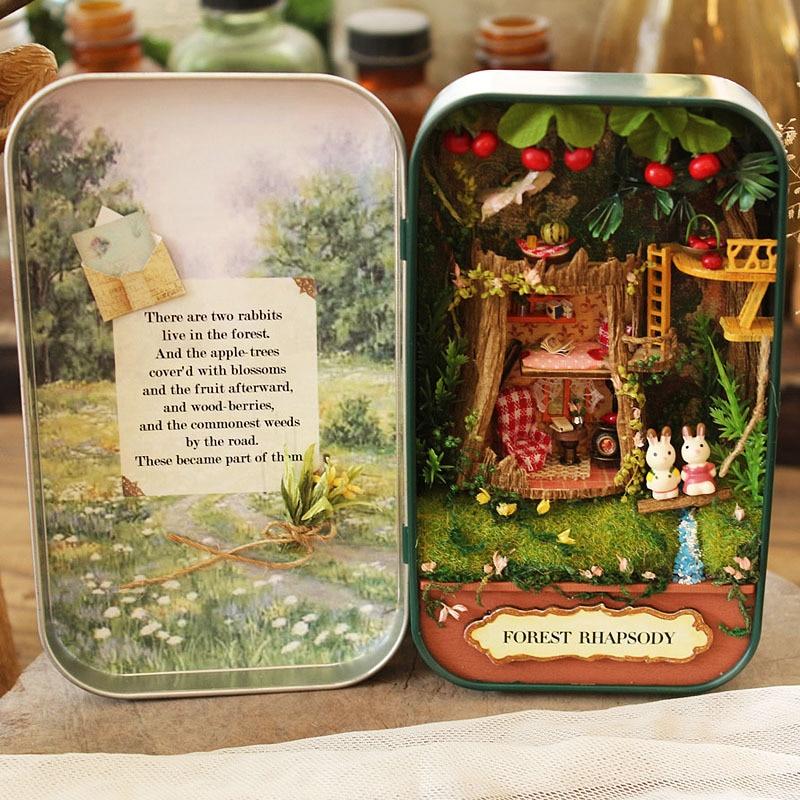 Christmas Gift Box Theatre Forest Doll House Dollhouse Miniature Box 3D Wooden DIY Handmade Box Mini Doll House Kits Gift Toys mylb 3d wooden diy handmade box theatre dollhouse miniature box cute assemble kits mini doll house gift toys