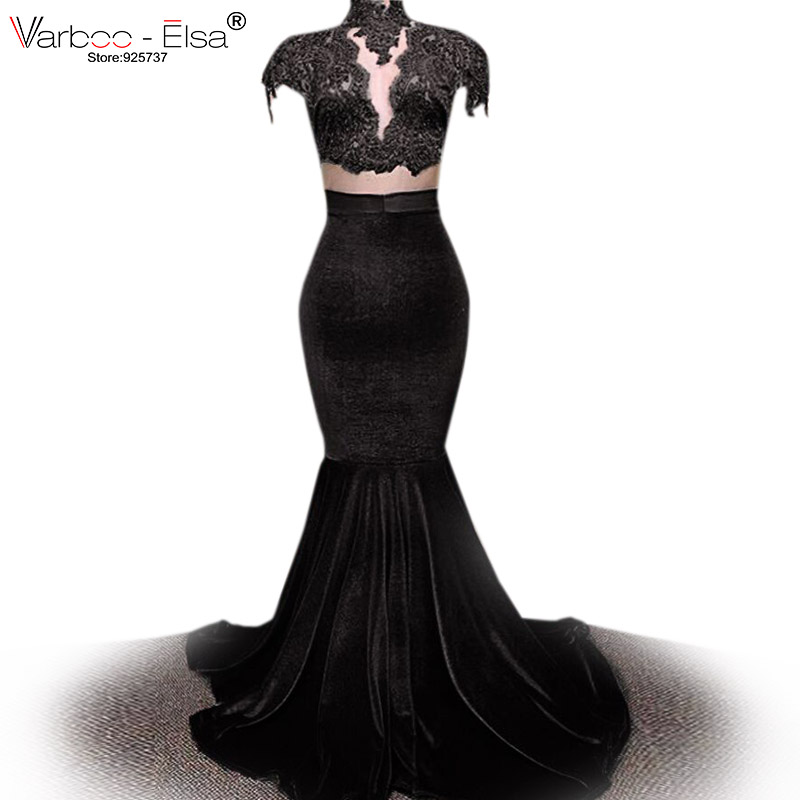 Sexy Velvet black purple red Mermaid   Prom     Dresses   Long 2018 Court Train Sleeveless Beaded Lace Women Evening Party Gowns