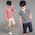 Лето мальчики одежда костюм в полоску футболка + короткие брюки 2 шт. костюм детей с коротким рукавом одежды