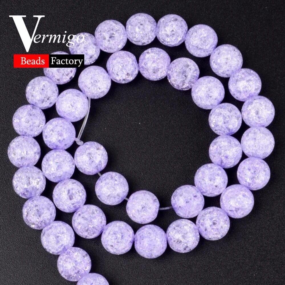 Wholesale 15.5 Purple Cracked Quartz Crystal Stone Round Beads 6mm 8mm 10mm 12mm Polished Purple Crystal  Gemstone For Jewelry Making