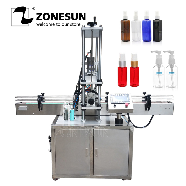 ZONESUN automatic 10-50mm Desktop electric plastic glass bottle capping machine with security ring pressing machine
