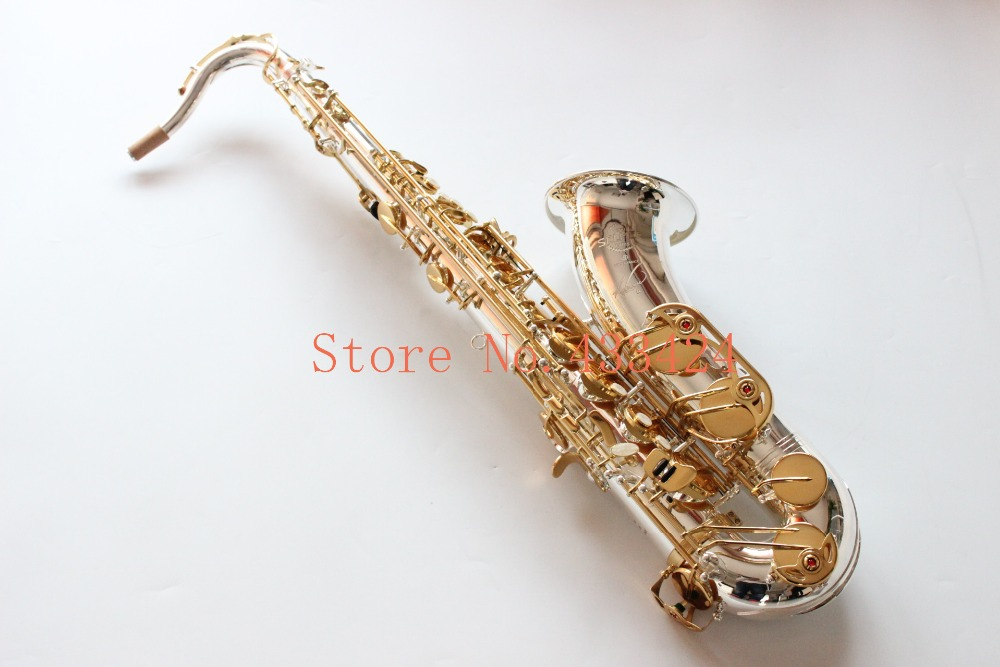 France Selmer 54 B Flat Tenor Saxophone  Bb Top Musical Instrument Saxe Silver body Golden Key Process Sax selmer of france b flat tenor sax instruments shipping professional performance suitable for beginners