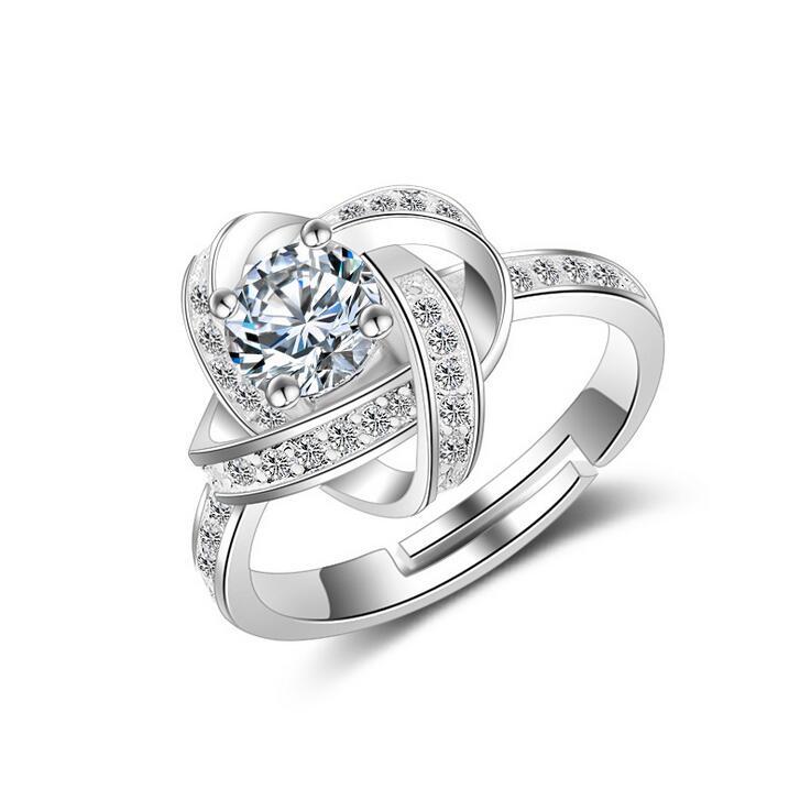 Nouvelle arrivée de haute qualité mode brillant CZ zircon 925 en argent sterling dames doigt anneaux de mariage bijoux cadeau femmes anneau pas cher