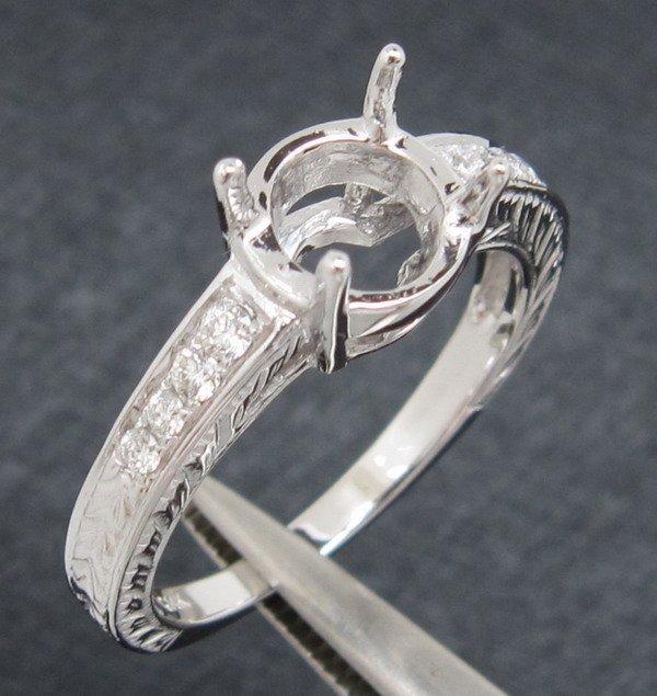 5.5mm Ronda Sólido 14ct oro blanco diamante natural semi montaje configuración de anillo de compromiso anillo de boda