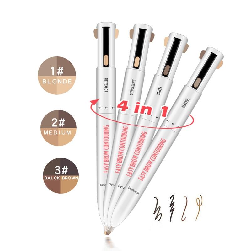 1pcs 4 In 1 Eyebrow Pencil Rotating Pressed Refills For Eyeliner Lip Liner Pen Tint Natural Lasting Waterproof Cosmetics