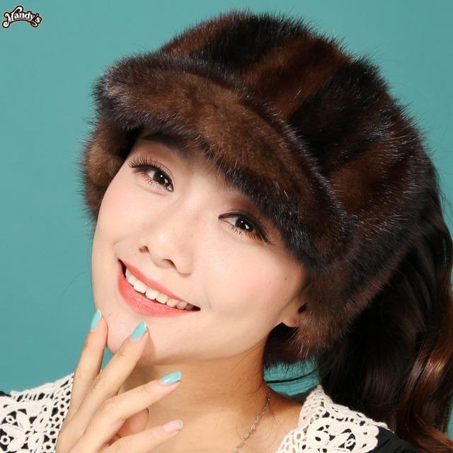 2015 otoño invierno de señora women moda de nueva diseño precioso modelo mostrar estilo coreano nuevo real pelo de visón de pieles sin corona del sombrero de marta